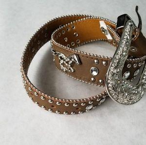 Nocona brown belt silver horse motif rhinestones